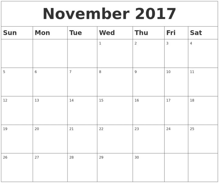 November Calendar 2017 Template