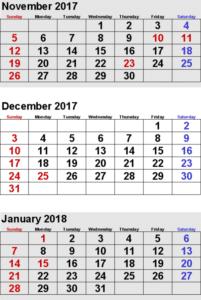 November December 2017 Calendar