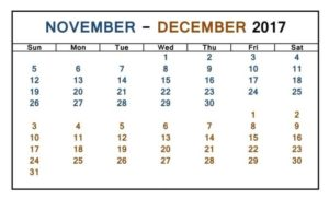 November December 2017 Calendar Printable