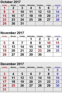 November December 2017 Calendar Template