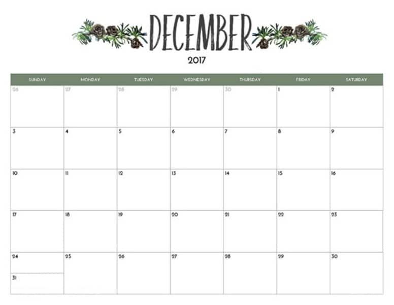 Printable 2017 Calendar December Template