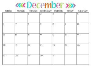Printable 2017 December Calendar Template