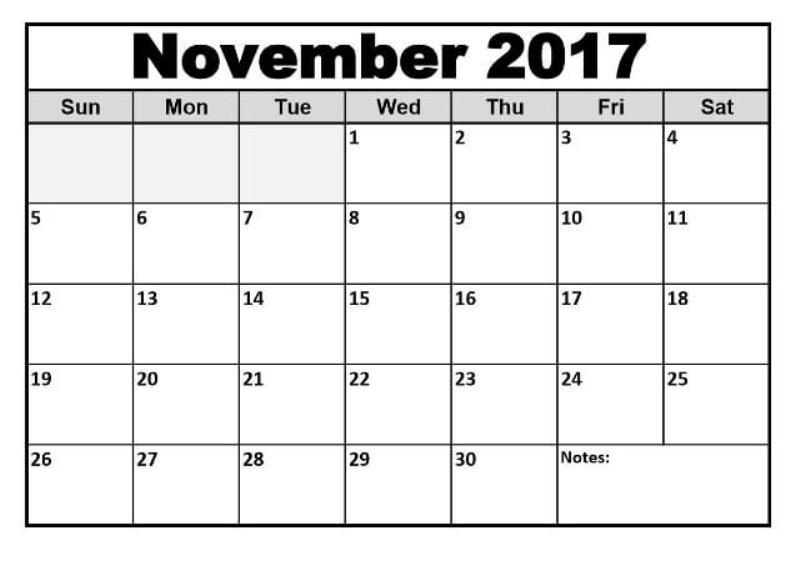 Printable 2017 November Calendar Template