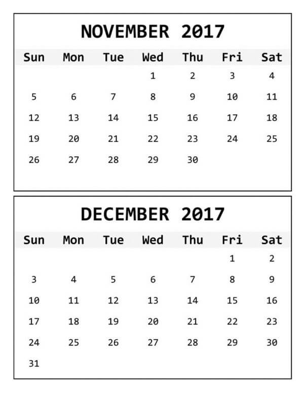 Printable 2017 November December Calendar