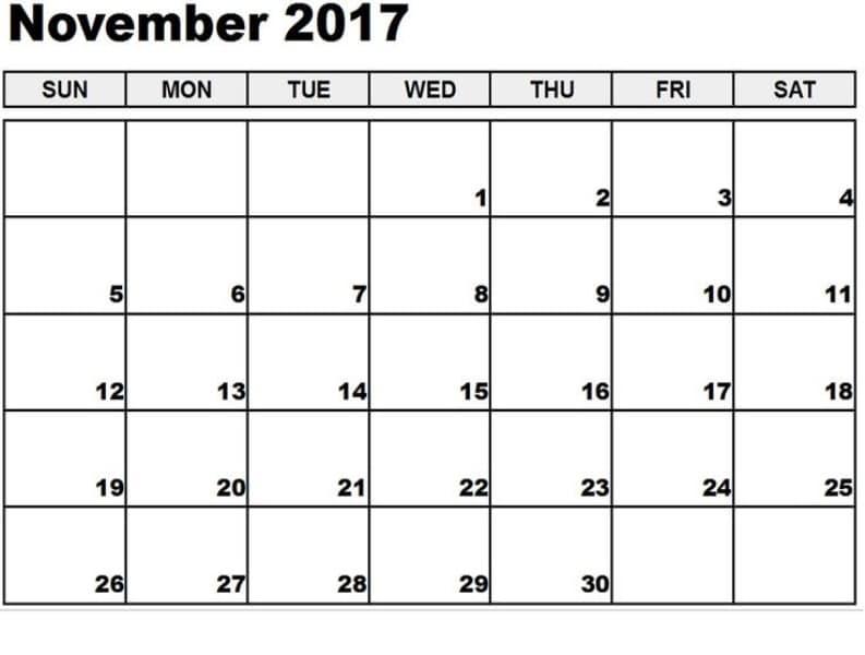 Printable Blank Calendar 2017 November