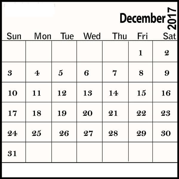 Printable Calendar 2017 December Template