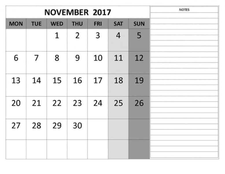 Printable Calendar 2017 November Template