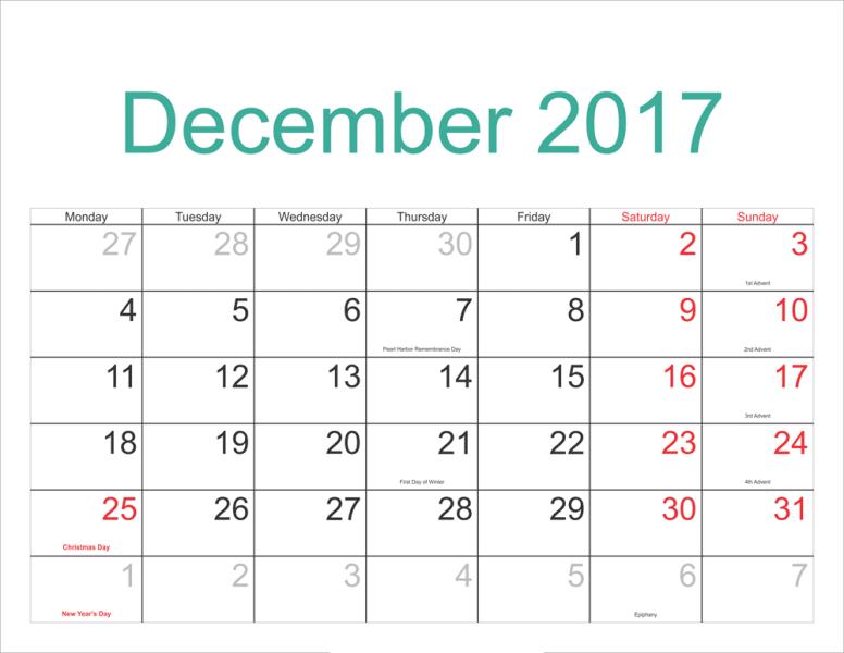 Printable December 2017 Calendar With Holidays