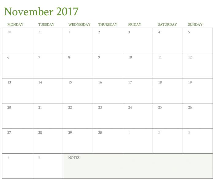 Printable Free 2017 November Calendar Template