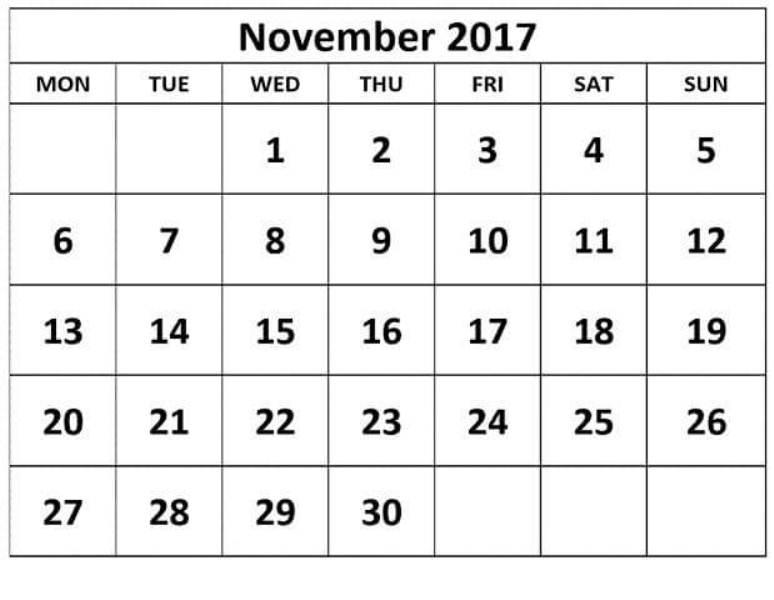 Printable Free November 2017 Calendar Template