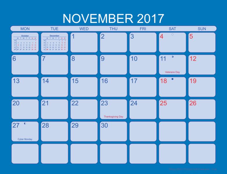 Printable Lunar Calendar November 2017