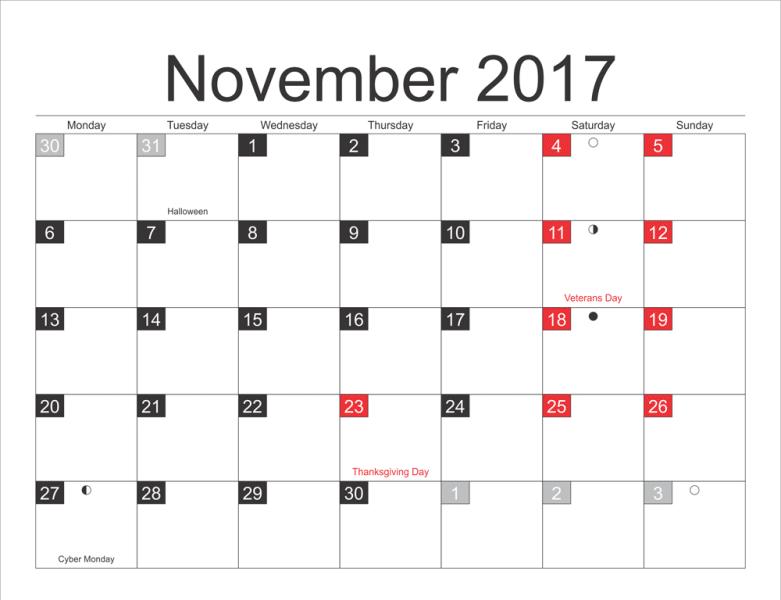 Printable Moon Calendar November 2017