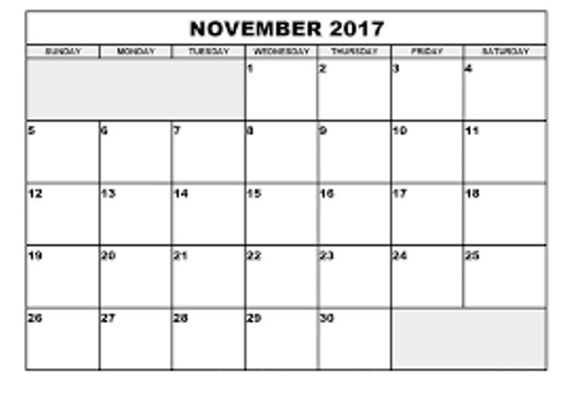 Printable November 2017 Calendar