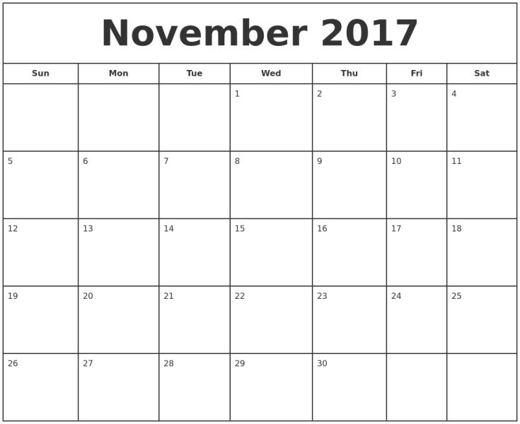 Printable November 2017 Calendar Template