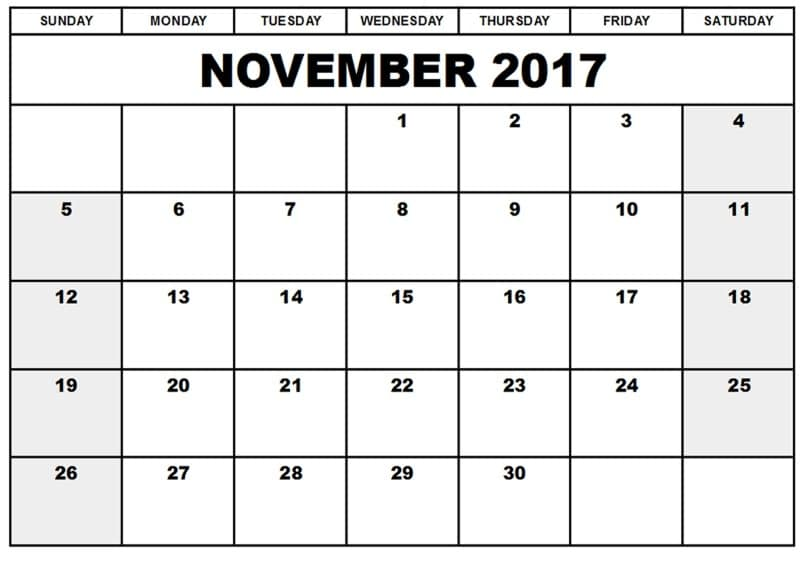 Printable November 2017 Template