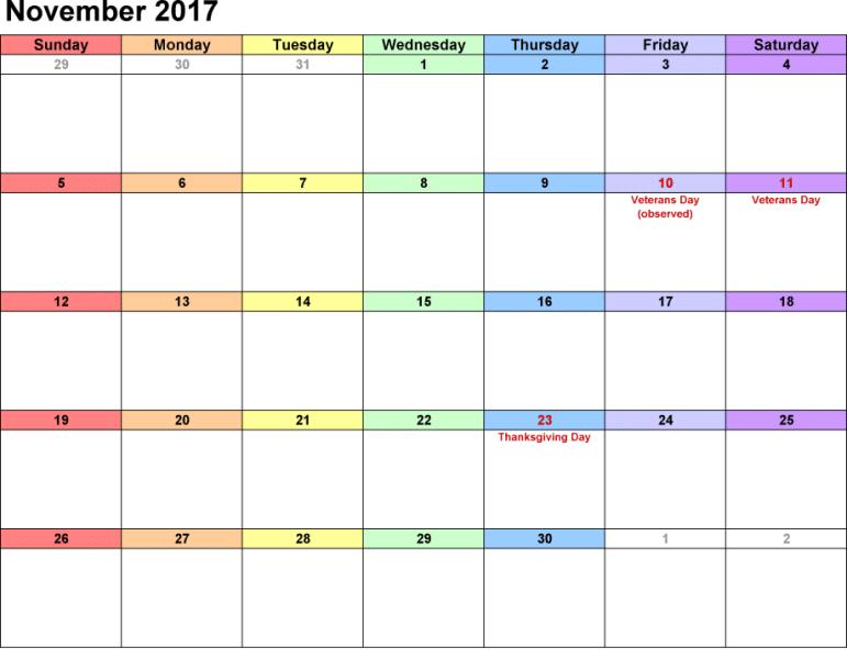 Printable November Calendar Template