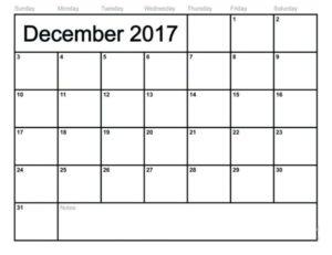 2017 December Calendar Excel