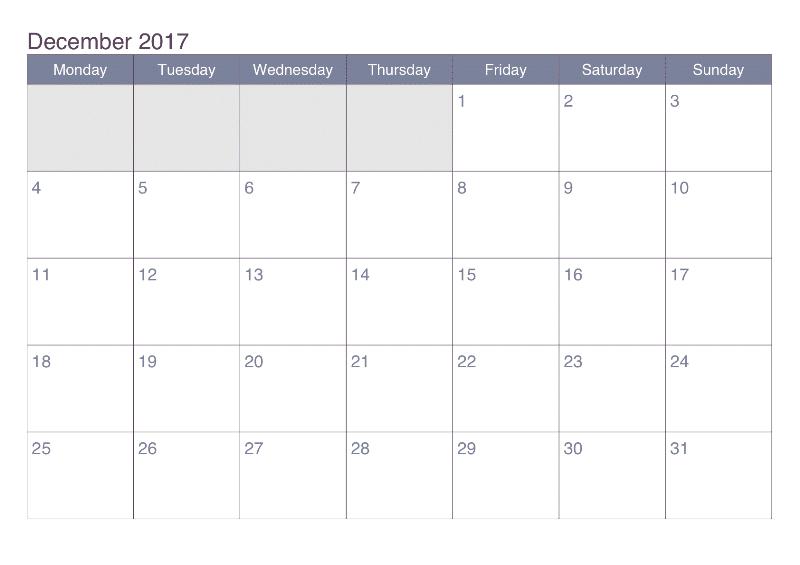 2017 December Calendar Office