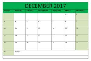 2017 December Calendar Printable