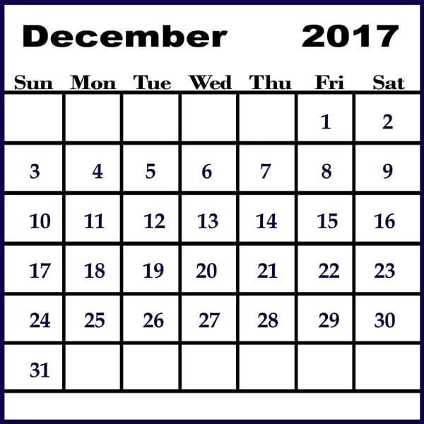 2017 December Calendar Template