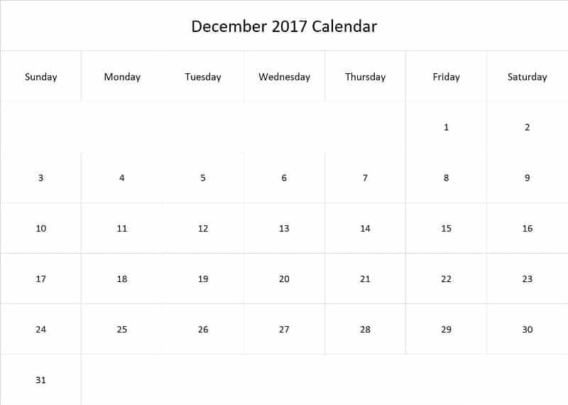 2017 December Calendar