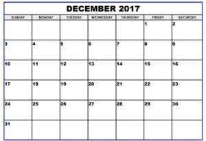 2017 December Calendar Word