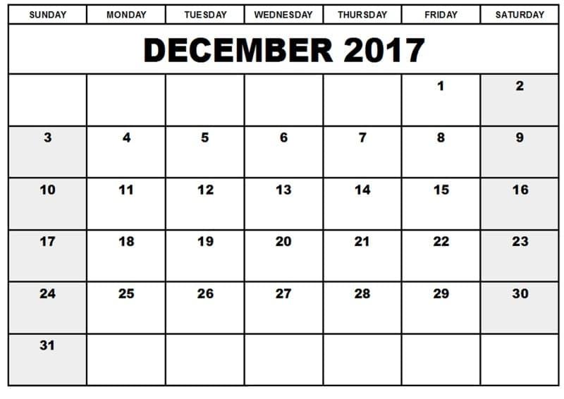 2017 December Monthly Calendar