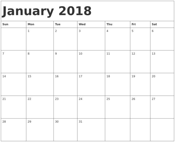2018 Calendar January