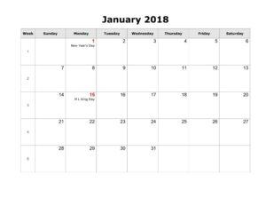 2018 Calendar January With Holidays