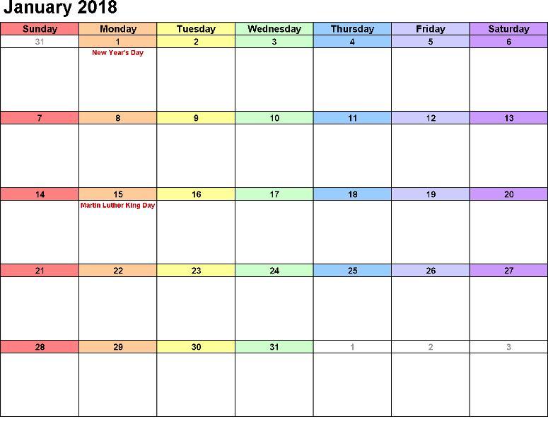 2018 January Calendar