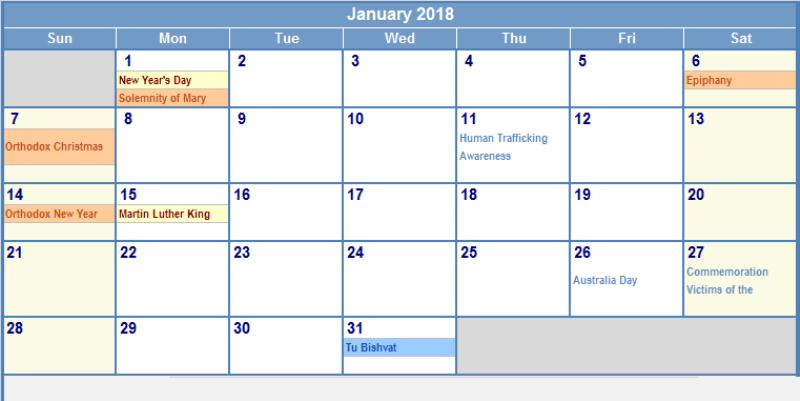 2018 January Calendar With Holidays
