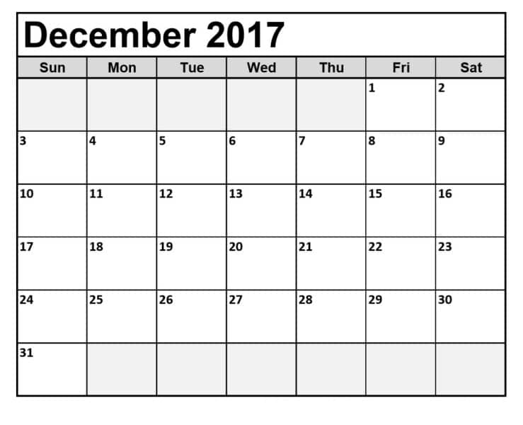 Blank Calendar December 2017