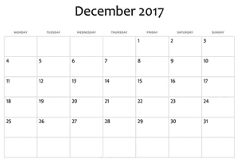 Blank December 2017 Calendar Editable
