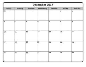Blank December 2017 Calendar Printable Template