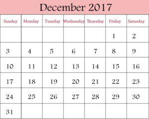 Blank December 2017 Calendar Template