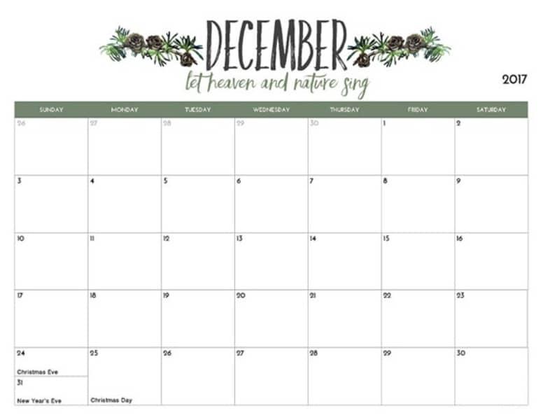 Blank December 2017 Calendar