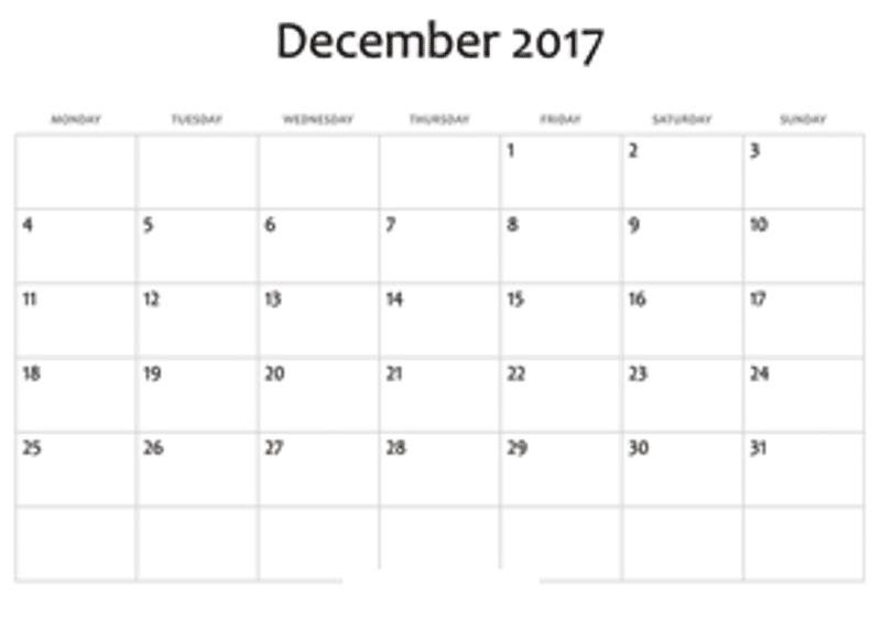 Blank December Calendar 2017 Printable