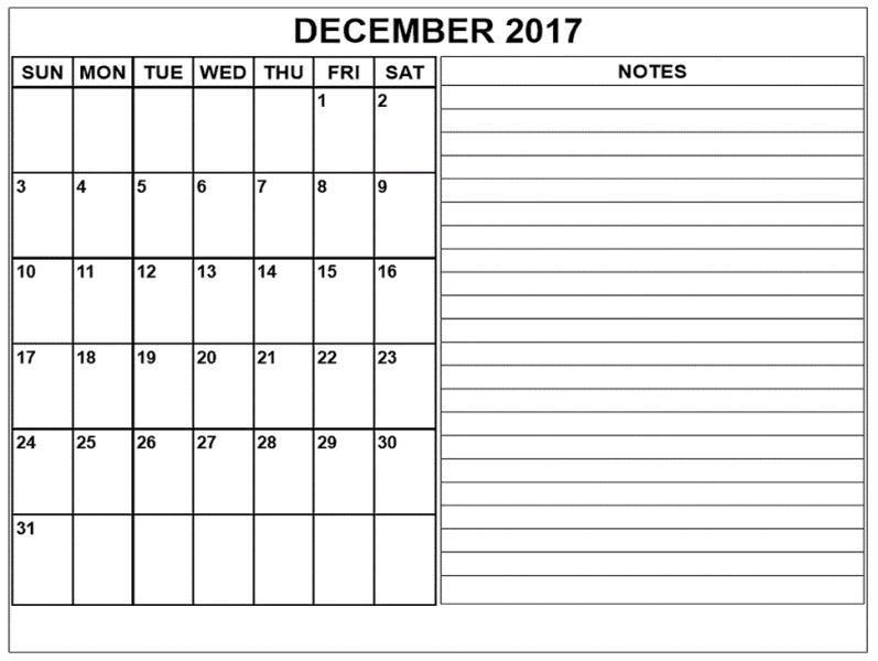 Blank December Calendar 2017