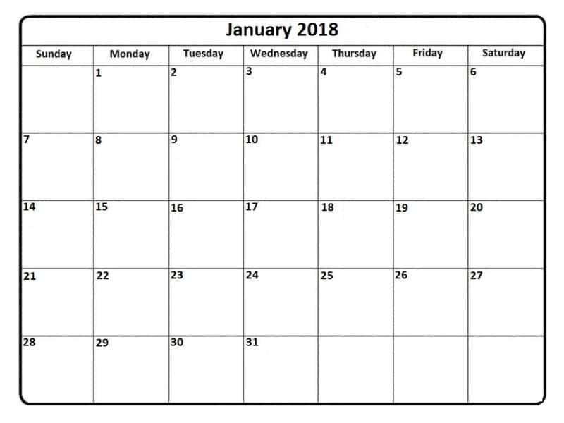 Blank January 2018 Calendar