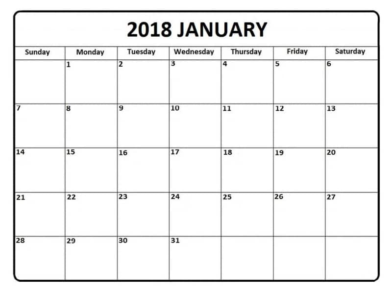 Blank January Calendar 2018