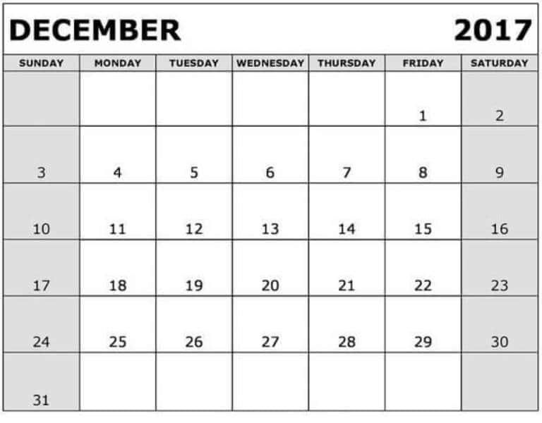 Calendar 2017 December Template