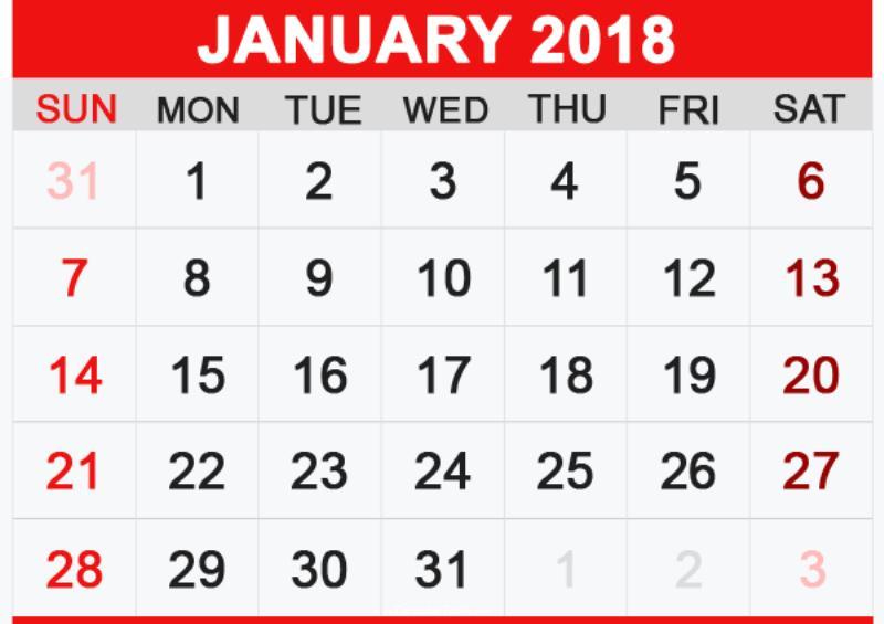 Calendar 2018 January Template
