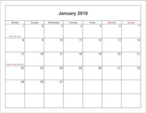 Calendar 2018 January With Holidays