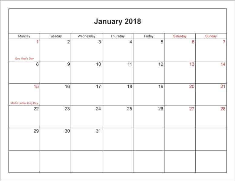 Calendar 2018 January With Holidays