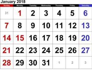 Calendar 2018 Printable January Template