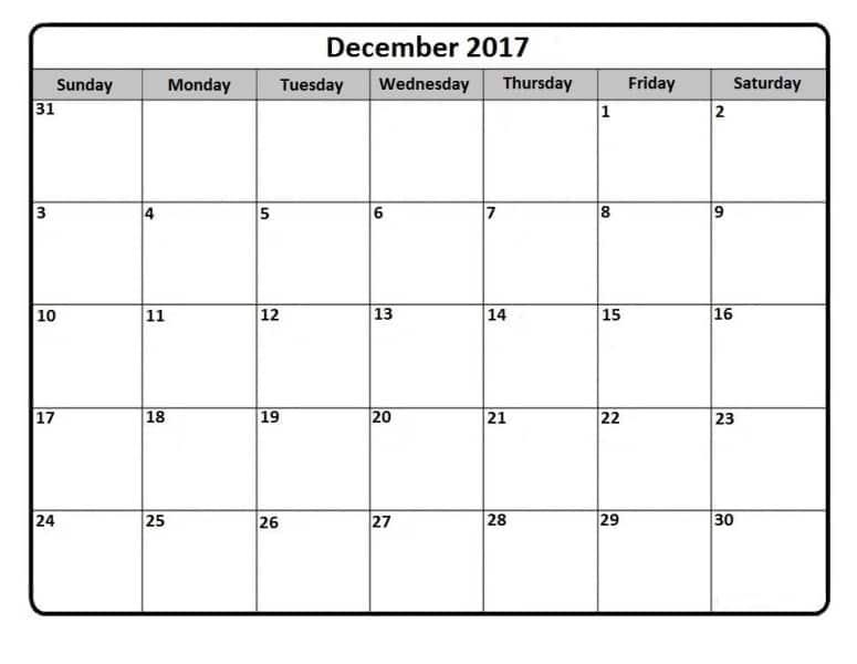 Calendar December 2017 Printable
