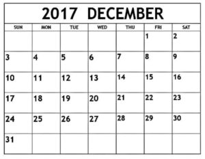 Calendar December 2017 Printable Template
