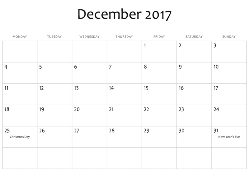 Calendar December 2017 With Holidays