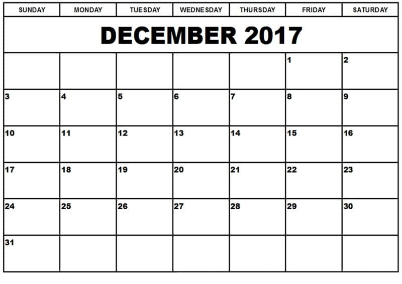 Calendar December 2017