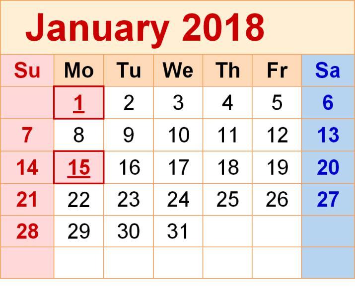 Calendar January 2018 Template